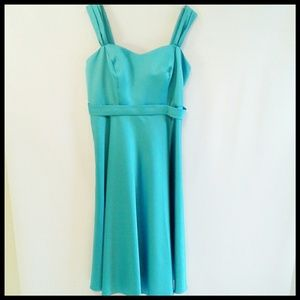 David`s Bridal Aqua Tea Length Dress Size 18